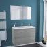 #Ensemble salle de bains - Meuble FAKTO Béton - Plan vasque résine - Miroir et éclairage - L100,5 x H71,5 x P50,5 cm