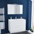 #Ensemble salle de bains - Meuble IPOMA Blanc brillant - Plan vasque résine - Miroir et éclairage - L100,5 x H71,5 x P50,5 cm