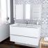 #Ensemble salle de bains - Meuble BORA Blanc - Plan vasque résine - Miroir et éclairage - L100,5 x H58,5 x P50,5 cm