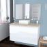 #Ensemble salle de bains - Meuble IPOMA Blanc brillant - Plan de toilette chêne naturel - Vasque carrée - Miroir et éclairage - L100 x H57 x P50 cm
