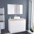 #Ensemble salle de bains - Meuble IPOMA Blanc brillant - Plan de toilette Hosta - Vasque ronde - Miroir et éclairage - L100 x H70 x P50 cm