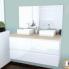 #IPOMA BLANC - Ensemble meuble salle de bains - Meuble, plan de toilette, double vasque et miroir rétro éclairé - L120xH57xP50