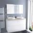#Ensemble salle de bains - Meuble IPOMA Blanc brillant - Plan de toilette Chêne clair Ikoro - Double vasque - Miroir lumineux - L120 x H70 x P50 cm
