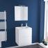 #Ensemble salle de bains - Meuble IPOMA Blanc brillant - Plan vasque résine - Miroir et éclairage - L60,5 x H71,5 x P50,5 cm