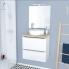 #Ensemble salle de bains - Meuble BORA Blanc - Plan de toilette Hosta - Vasque ronde - Miroir et éclairage - L60 x H57 x P40 cm