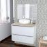 #Ensemble salle de bains - Meuble BORA Blanc - Plan de toilette Chêne clair Ikoro - Vasque ronde - Miroir lumineux - L80 x H57 x P50 cm