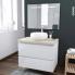 #IPOMA BLANC - Ensemble salle de bains - Meuble, plan de toilette, vasque ronde et miroir rétro éclairé - L80 x H57 x P50 cm