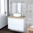#PIMA BLANC - Ensemble meuble salle de bains - Meuble, plan de toilette, vasque et miroir rétro éclairé - L80xH57xP50