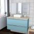 #Ensemble salle de bains - Meuble KERIA Bleu - Plan de toilette Hosta - Vasque carrée - Miroir et éclairage - L100 x H57 x P50 cm