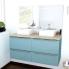 #Ensemble salle de bains - Meuble KERIA Bleu - Plan de toilette Chêne clair Ikoro - Double vasque - Miroir lumineux - L120 x H57 x P50 cm