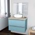 #Ensemble salle de bains - Meuble KERIA Bleu - Plan de toilette Hosta - Vasque ronde - Miroir lumineux - L80 x H57 x P50 cm