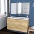 #IPOMA BOIS - Ensemble meuble salle de bains - Meuble, plan vasque résine, miroir et éclairage - L100,5xH58,5xP50,5