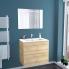 #Ensemble salle de bains - Meuble IPOMA Bois - Plan vasque résine - Miroir lumineux - L80,5 x H71,5 x P50,5 cm