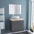 #Ensemble salle de bains - Meuble GINKO Gris - Plan de toilette - Vasque bol - Miroir lumineux - L80 x H70 x P50 cm