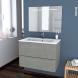 Meuble de salle de bains - Plan vasque REZO - FAKTO Béton - 2 tiroirs - Côtés décors - L80,5 x H58,5 x P50,5 cm