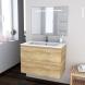 Meuble de salle de bains - Plan vasque REZO - IPOMA Chêne Naturel - 2 tiroirs - Côtés décors - L80,5 x H58,5 x P50,5 cm