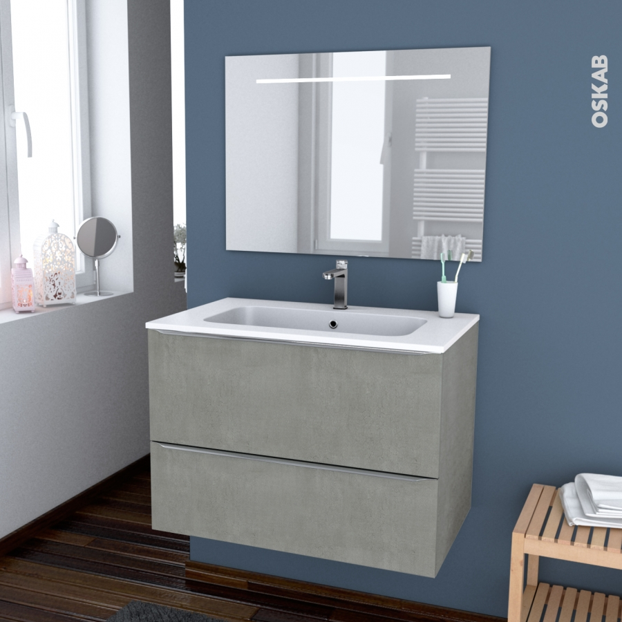 Ensemble salle de bains meuble fakto b ton plan vasque r sine miroir lumineux l80 5 x h58 5 x - Salle de bain resine ...