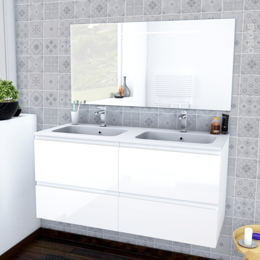 ensemble salle de bains meuble ipoma blanc brillant plan. Black Bedroom Furniture Sets. Home Design Ideas