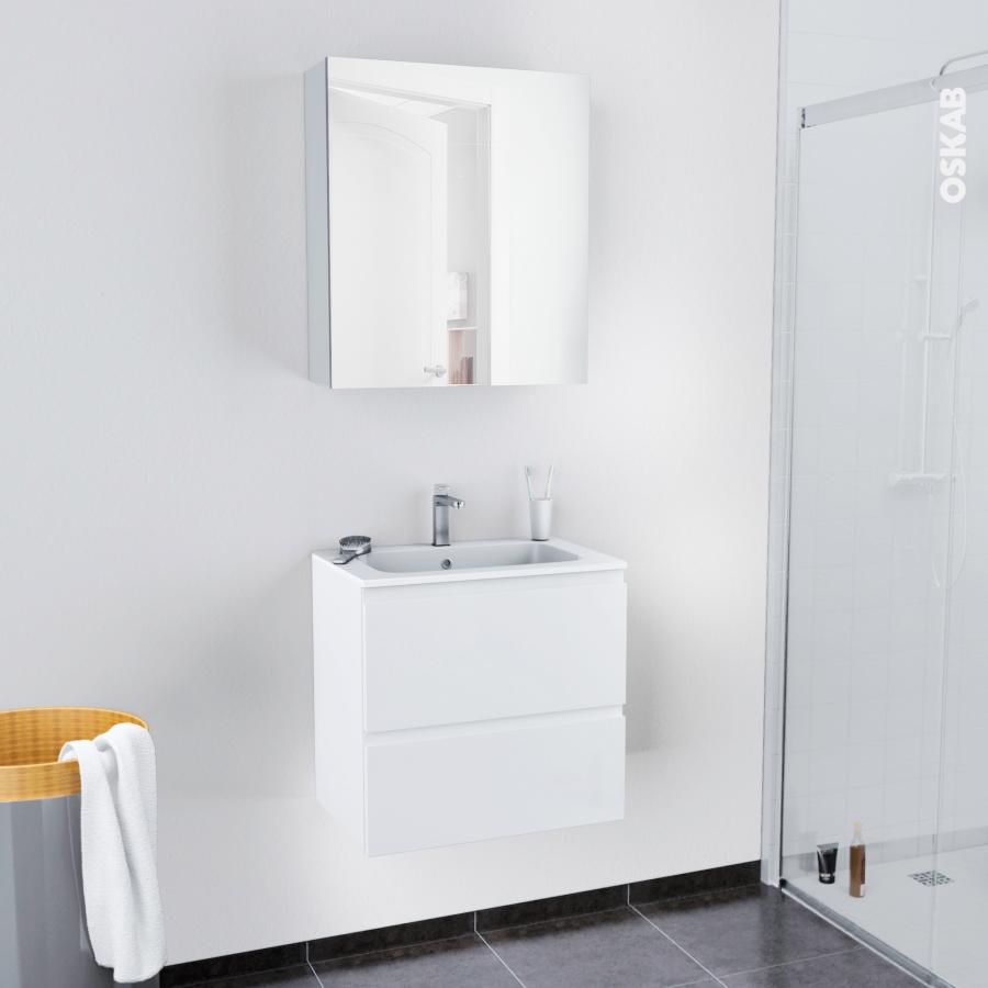 Ensemble salle de bains meuble ipoma blanc brillant plan for Resine mur salle de bain