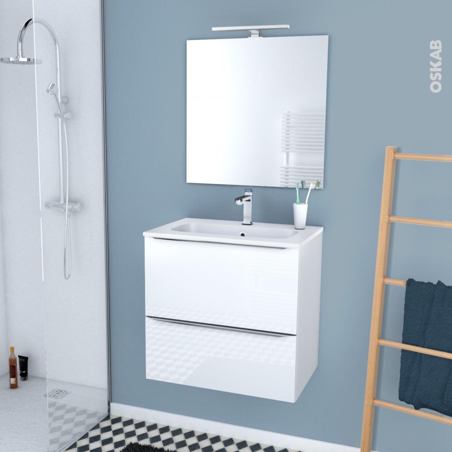 ensemble salle de bains meuble bora blanc plan vasque. Black Bedroom Furniture Sets. Home Design Ideas