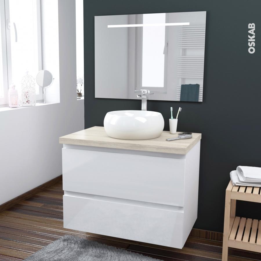 Ensemble salle de bains meuble ipoma blanc brillant plan - Meuble salle bain blanc ...