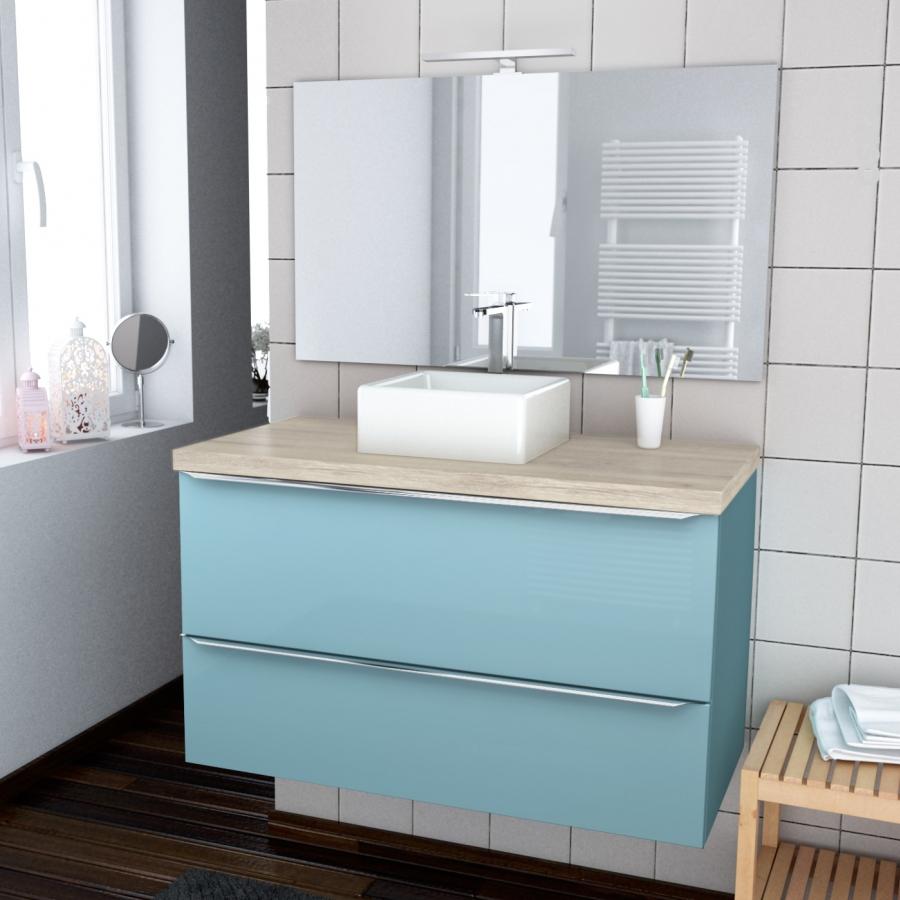 ensemble salle de bains meuble keria bleu plan de toilette ch ne naturel vasque carr e miroir et. Black Bedroom Furniture Sets. Home Design Ideas