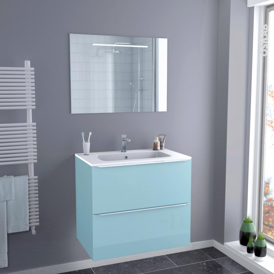 ensemble salle de bains meuble keria bleu plan vasque r sine miroir lumineux l80 5 x h71 5 x p50. Black Bedroom Furniture Sets. Home Design Ideas