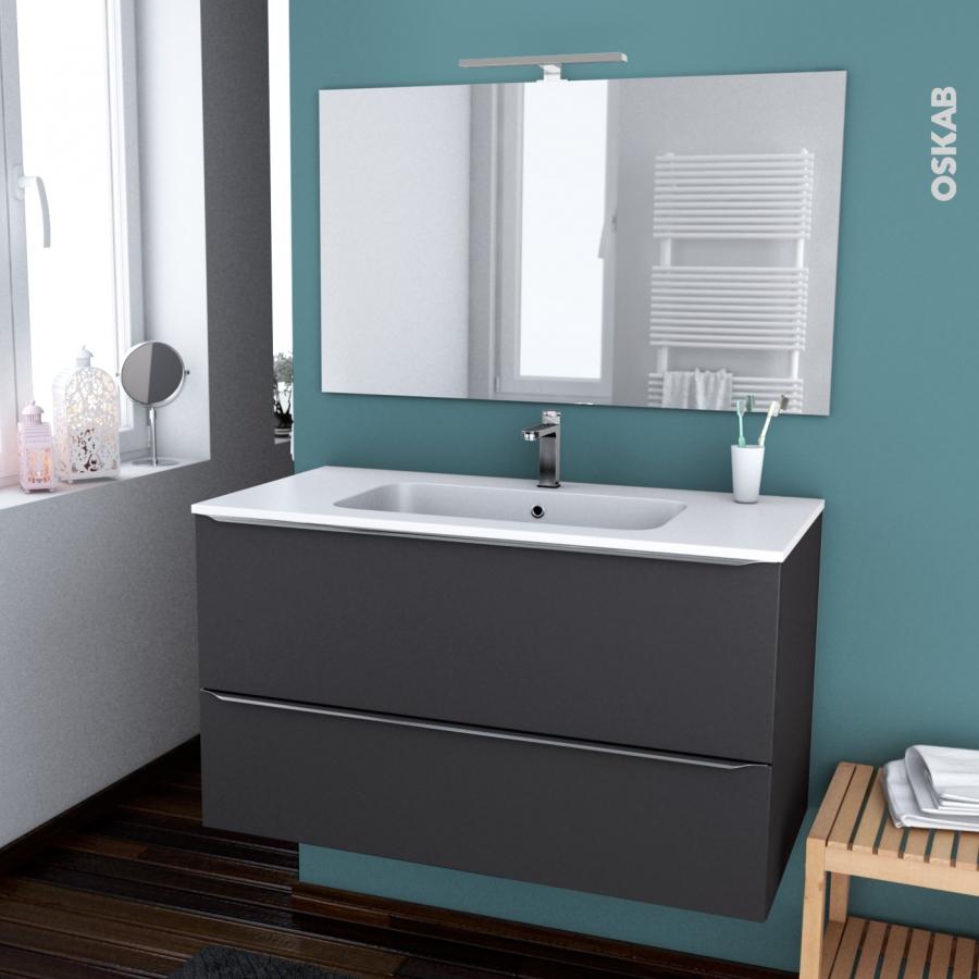 Ensemble salle de bains meuble ginko gris plan vasque r sine miroir et clairage l100 5 x h58 5 - Eclairage meuble de salle de bain ...