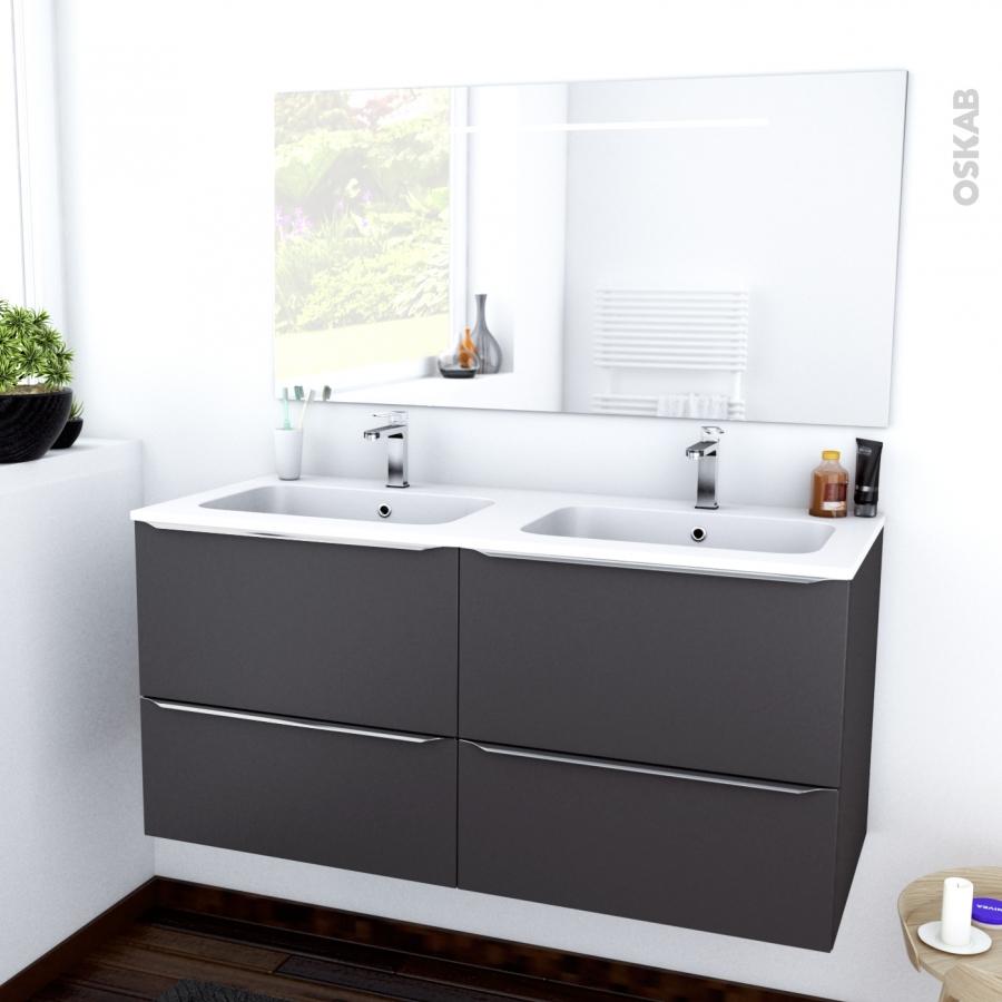 Ensemble salle de bains meuble ginko gris plan double Resine salle de bain