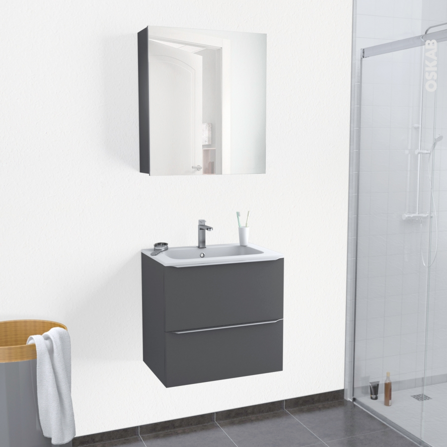 ensemble salle de bains meuble ginko gris plan vasque r sine armoire de toilette l60 5 x h58 5 x. Black Bedroom Furniture Sets. Home Design Ideas