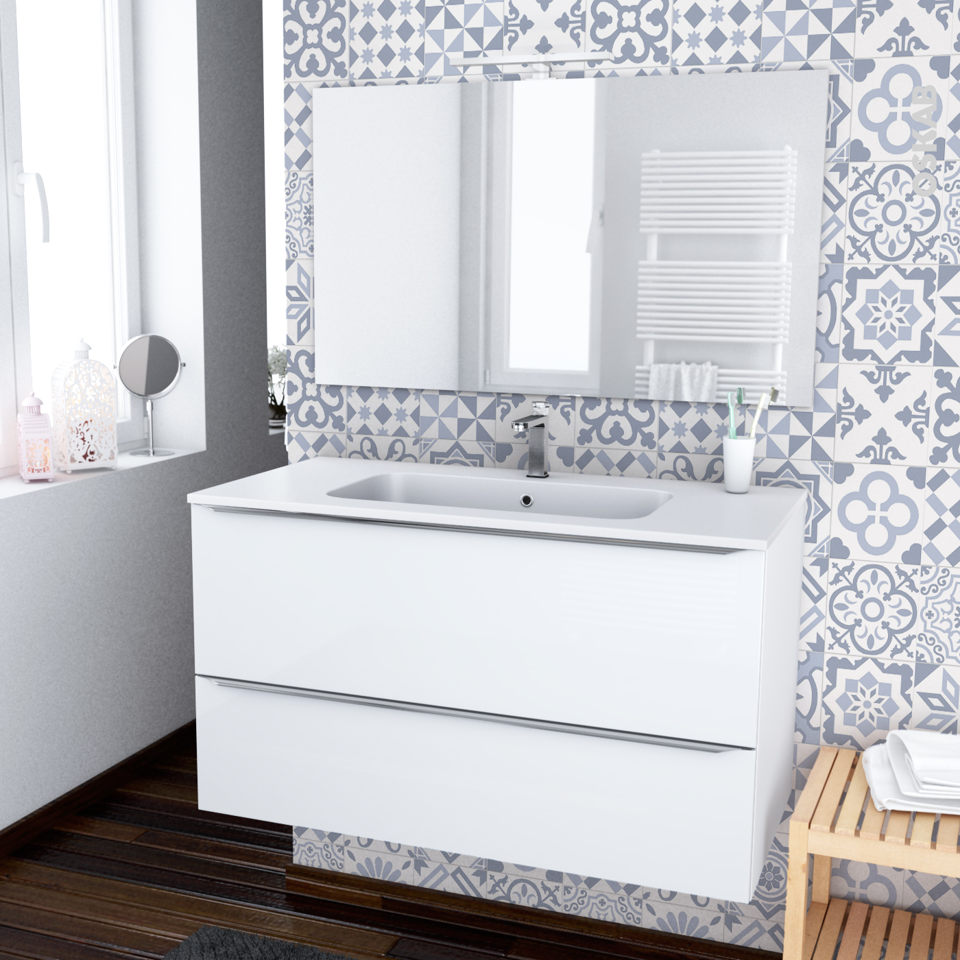 Meuble Salle De Bain Largeur 100 ensemble salle de bains meuble bora blanc plan vasque résine, miroir et  éclairage, l100,5 x h58,5 x p50,5 cm