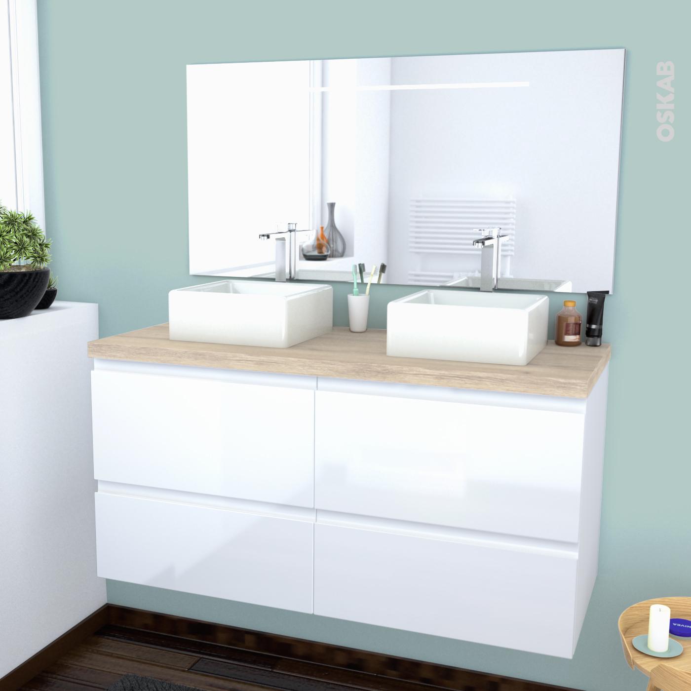 Ensemble salle de bains Meuble IPOMA Blanc brillant Plan de toilette Chêne  clair Ikoro, Double vasque, Miroir lumineux, L120 x H57 x P50 cm