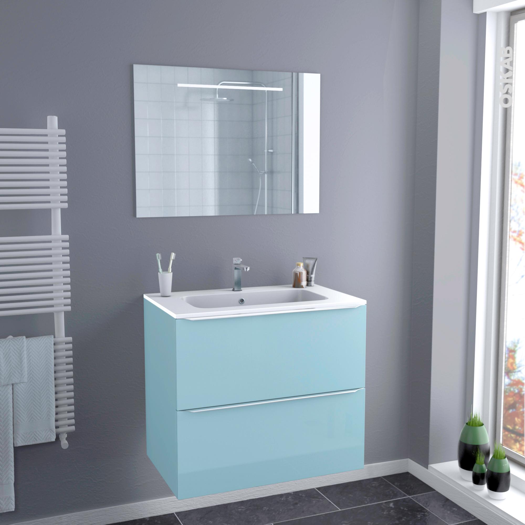 Plan Vasque Salle De Bain Pmr ~ Ensemble Salle De Bains Meuble Keria Bleu Plan Vasque R Sine Miroir