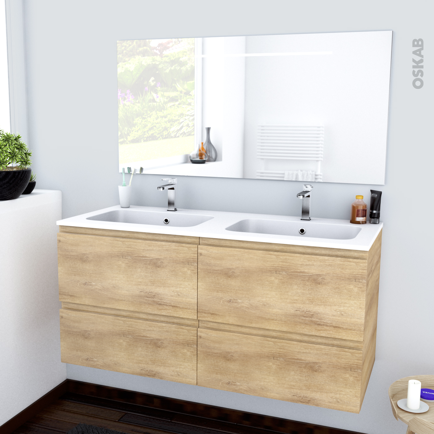 Lavabo double vasque retro simple beliani meuble meubles for Meuble salle de bains double vasque