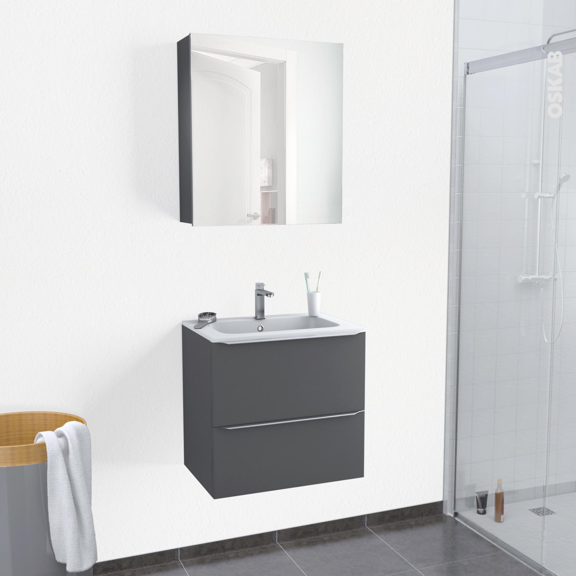 Plan De Toilette Salle De Bain ensemble salle de bains meuble ginko gris plan vasque r�sine, armoire de  toilette, l60,5 x h58,5 x p40,5 cm