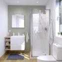 Ensemble salle de bains - Meuble IPOMA Blanc mat - Plan vasque résine - Miroir et éclairage - L60,5 x H58,5 x P40,5 cm