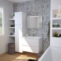 Ensemble salle de bains - Meuble IPOMA Blanc mat - Plan vasque résine - Miroir lumineux - L80,5 x H58,5 x P50,5 cm