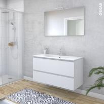 Ensemble salle de bains - Meuble IPOMA Blanc mat - Plan vasque résine - Miroir et éclairage - L100,5 x H58,5 x P50,5 cm