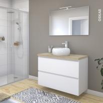 Ensemble salle de bains - Meuble IPOMA Blanc mat - Plan de toilette Chêne clair Ikoro - Vasque ronde - Miroir et éclairage - L100 x H70 x P50 cm