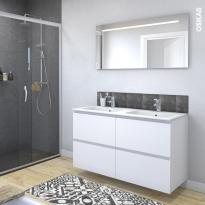 Ensemble salle de bains - Meuble IPOMA Blanc mat - Plan double vasque résine - Miroir lumineux - L120,5 x H71,5 x P50,5 cm