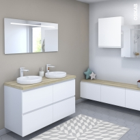 Ensemble salle de bains - Meuble IPOMA Blanc mat - Plan de toilette Hosta - Double vasque - Miroir lumineux - L120 x H70 x P50 cm