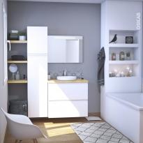 Ensemble salle de bains - Meuble IPOMA Blanc mat - Plan de toilette Chêne clair Ikoro - Vasque ronde - Miroir lumineux - L80 x H70 x P50 cm
