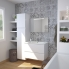 #Armoire de salle de bains - Rangement haut - IPOMA Blanc mat - 2 portes miroir - Côtés décors - L60 x H70  xP27 cm