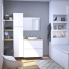 #Ensemble salle de bains - Meuble IPOMA Blanc mat - Plan de toilette Chêne clair Ikoro - Vasque ronde - Miroir lumineux - L80 x H70 x P50 cm