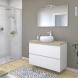 Meuble de salle de bains - Sous vasque - IPOMA Blanc mat - 2 tiroirs - Côtés décors - L100 x H70 x P50 cm