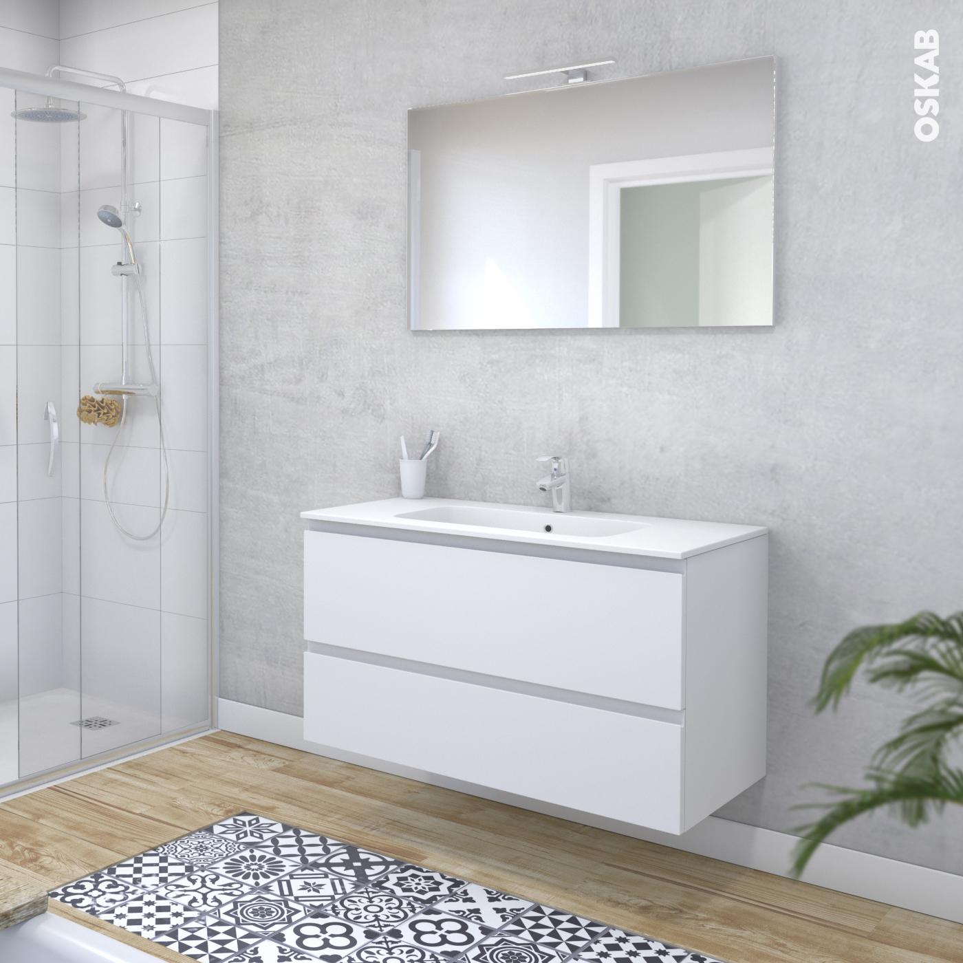 Evier Meuble Salle De Bain ensemble salle de bains meuble ipoma blanc mat plan vasque résine, miroir  et éclairage, l100,5 x h58,5 x p50,5 cm