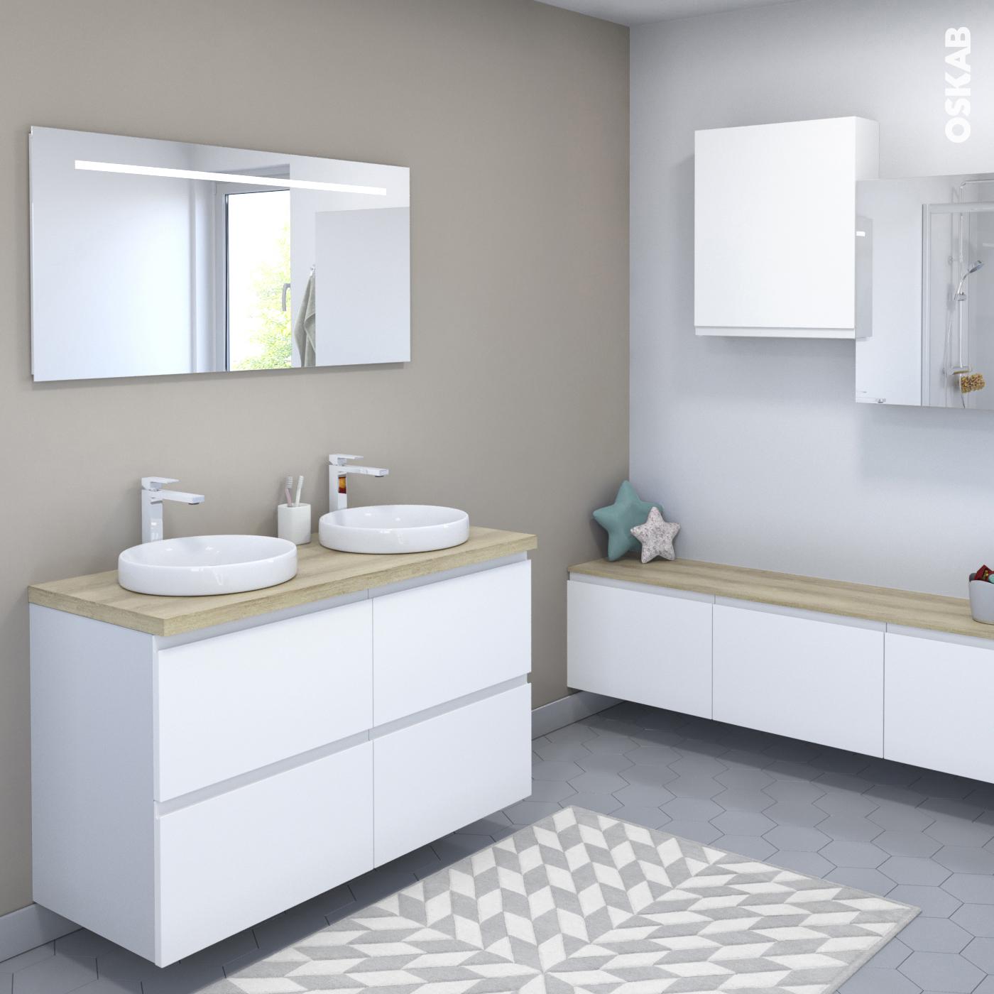 meuble - salle de bains ipoma - blanc mat - achat modèle de salle ... - Salle De Bains Blanche
