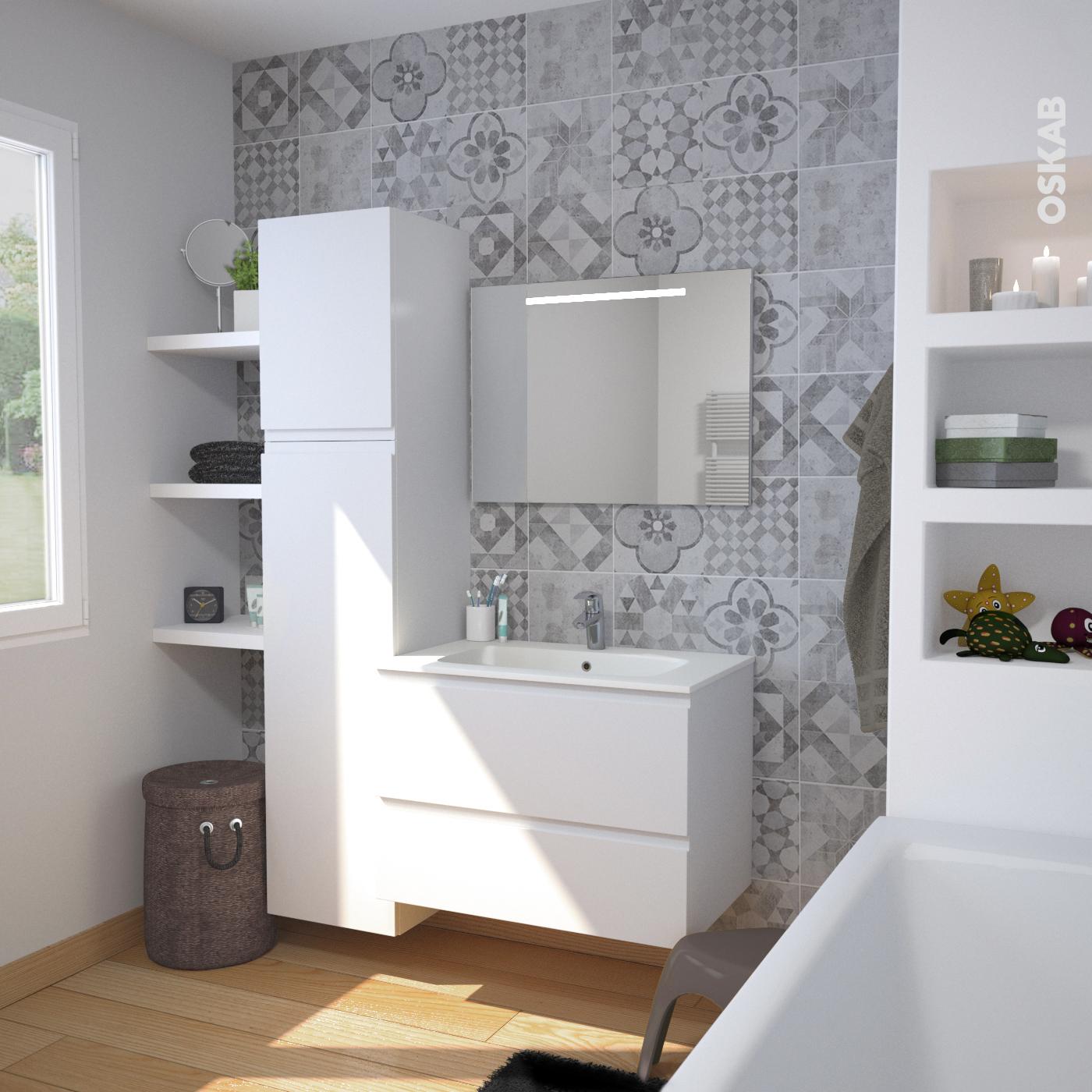 Ensemble salle de bains Meuble IPOMA Blanc mat Plan vasque résine ...