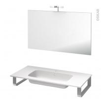 Pack salle de bains PMR - Plan vasque en résine REZO - Miroir et éclairage - L100,5 x P50,5 cm