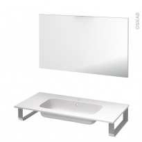 Pack salle de bains PMR - Plan vasque en résine REZO - Miroir - L100,5 x P50,5 cm